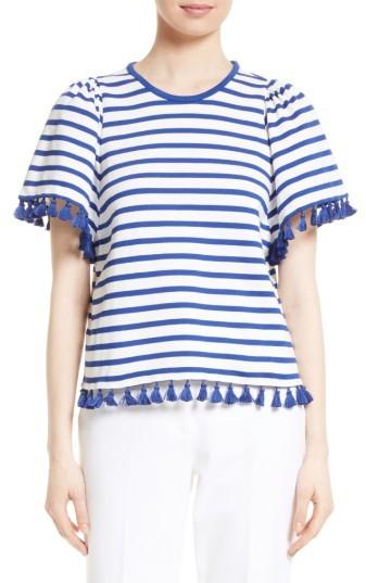 Women's Kate Spade New York Tassel Stripe Flutter Sleeve Top