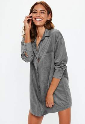 Missguided Gray Oversized Faux Suede Shirt Dress