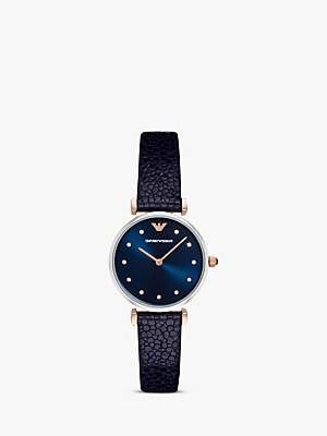 Emporio Armani AR1989 Women's Crystal Leather Strap Watch, Navy