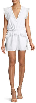 Kisuii Lian V-Neck Sleeveless Embroidered Romper