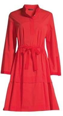 Josie Natori Cotton Poplin Mandarin Dress