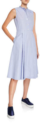 Aspesi Collared Sleeveless Striped Poplin Dress