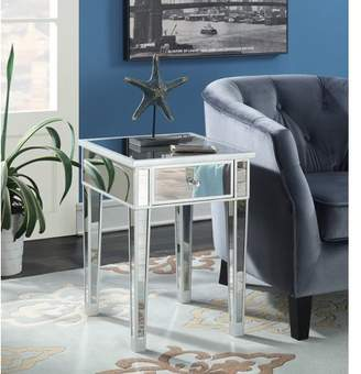 Convenience Concepts Gold Coast Mirrored End Table with Drawer