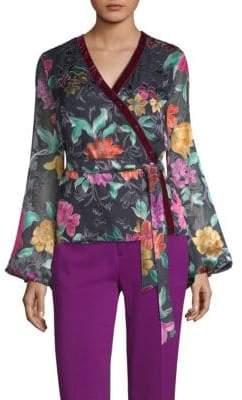 Etro Floral-Print Velvet-Trim Blouse