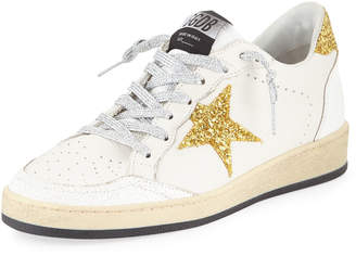 Golden Goose Ball Star Glitter & Leather Sneakers with Shimmer Laces