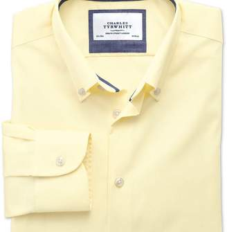 Charles Tyrwhitt Extra slim fit button-down collar non-iron business casual yellow shirt