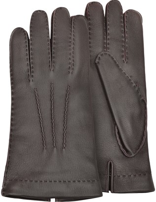 Forzieri Men's Cashmere Lined Brown Italian Deer Leather Gloves