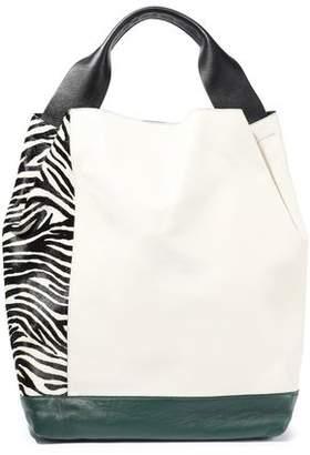 ef2230e6ef6e Marni Pod Paneled Leather And Zebra-print Calf Hair Shoulder Bag