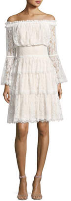 Tadashi Shoji Off-the-Shoulder Tiered Lace Cocktail Dress, Ivory/Petal