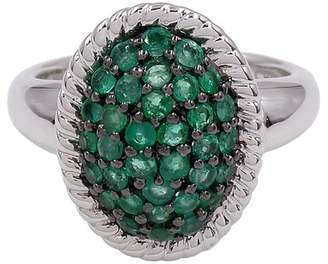 Savvy Cie Pave Faceted Emerald Detail Ring