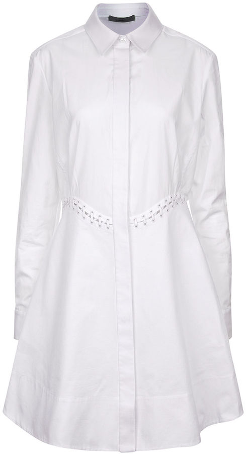 Alexander WangAlexander Wang White Cotton Laced Shirt Dress