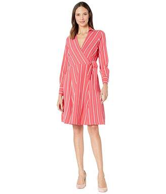Calvin Klein Striped Long Sleeve Shirtdress w/ Tie Belt