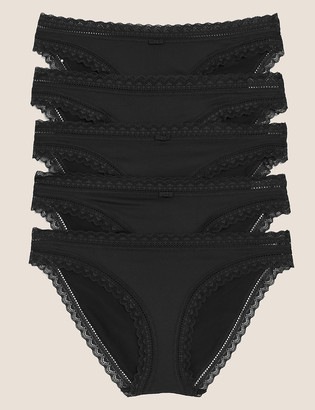 Marks and Spencer 5 Pack Microfibre with Lace Bikini Knickers