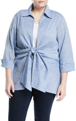 Neiman Marcus Plus Tie-Front Linen Blouse, Plus Size