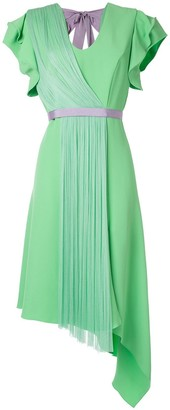 DELPOZO pleated insert asymmetric dress