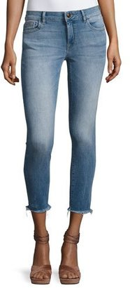 DL 1961 Florence Instasculpt Cropped Skinny Jeans with Raw Hem, Nugget $188 thestylecure.com