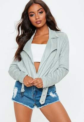 Missguided grey Cropped Faux Suede Biker Jacket
