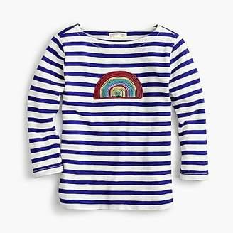 J.Crew Girls' striped T-shirt with rainbow