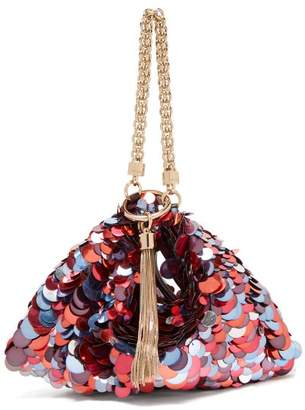 Jimmy Choo Callie Sequinned Satin Clutch Bag - Womens - Red Multi