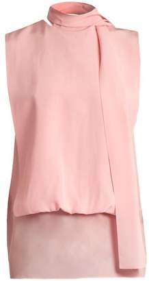 Valentino Tie Neck Silk Georgette Blouse - Womens - Pink