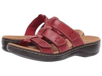 e9f63763075 Clarks Red Leather Footbed Women s Sandals - ShopStyle