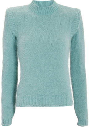 Alberta Ferretti Strong Shoulder Angora-Blend Sweater