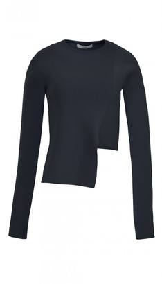 Ribbed Asymmetric Crewneck Sweater $595 thestylecure.com