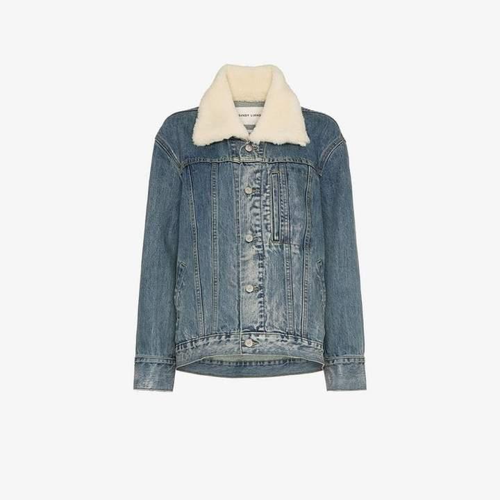 Sandy Liang York shearling collar denim jacket