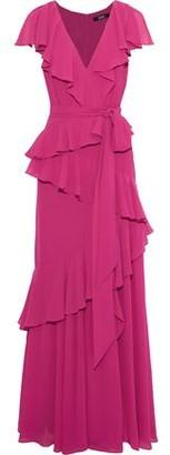 Badgley Mischka Belted Ruffled Georgette Gown