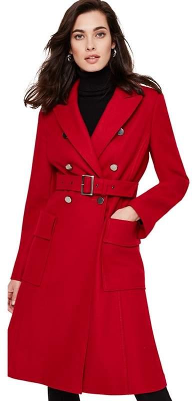 Red Roxi Large Pocket Belted Coat