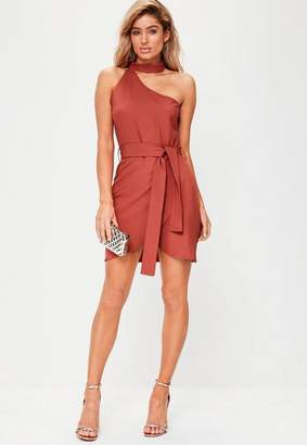 Missguided Red One Shoulder Choker Neck Tie Waist Bodycon Dress