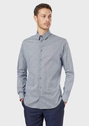 Giorgio Armani Regular-Fit Pleated Shirt In Chevron Fabric With Logo