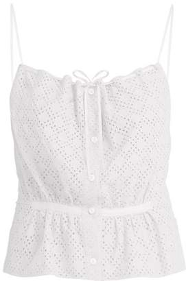 Raey Button Through Broderie Anglaise Cami Top - Womens - White