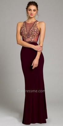 Camille La Vie Jersey Beaded Plunge Prom Dress $230 thestylecure.com