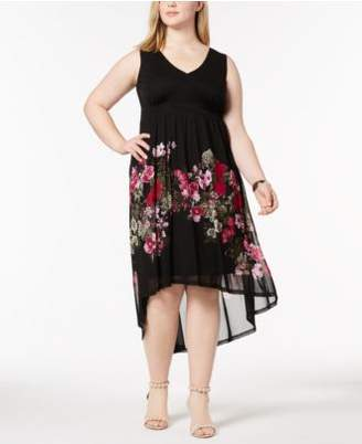INC International Concepts I.N.C. Plus Size Printed Mesh High-Low Dress, Created for Macy's