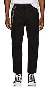 Chapter MEN'S CHAIN-EMBELLISHED STRIPED COTTON TROUSERS-BLACK SIZE 34