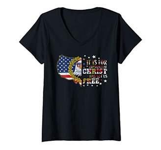 Womens 4th of July Patriotic Bald Eagle American Flag Christian V-Neck T-Shirt