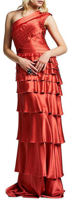Kay Unger One-Shoulder Tiered Gown