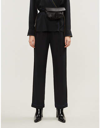 Rag & Bone Lina contrast-stitch relaxed silk trousers