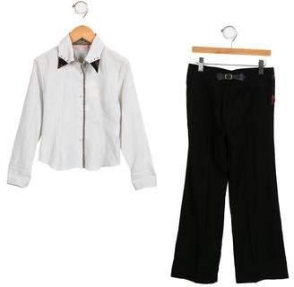 MonnaLisa Girls' Striped Wide-Leg Pants Set w/ Tags