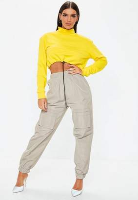 Missguided Gray Utility Pocket Front Shell Suit Pants