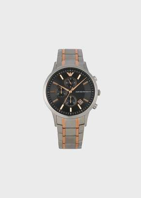 Emporio Armani Stainless Steel Chronograph With Three-Chain Strap With Rose Gold Strips