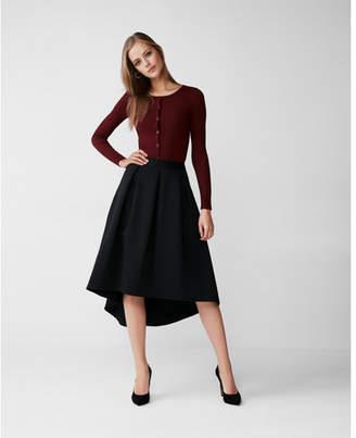 Express high waisted textured hi lo midi skirt