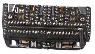 By Malene Birger Embellished Leather Fold-Over Clutch
