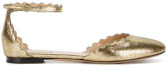 Chloé Gold Lauren Leather Ankle Strap Pumps