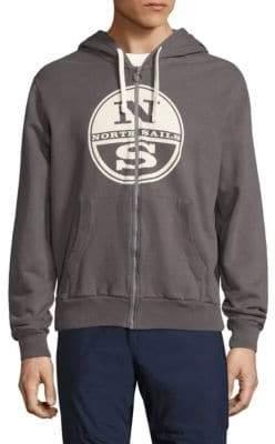 North Sails Logo Embossed Zip-Front Hoodie
