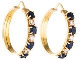 18K Sapphire & Diamond Hoop Earrings