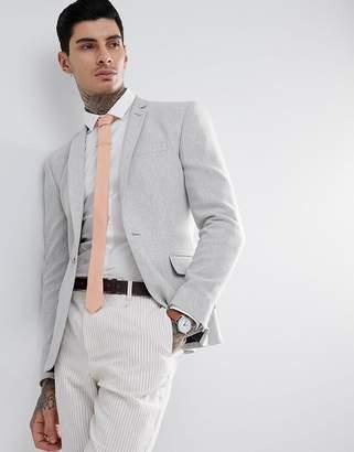 Asos Design Super Skinny Texture Blazer In Ice Grey Wool Mix