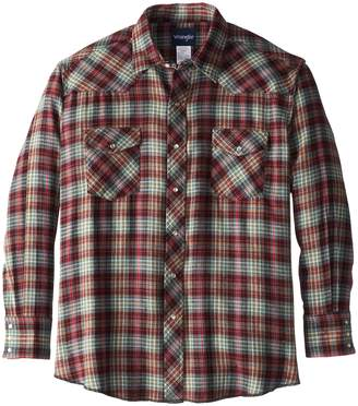 Wrangler Men's Big Western Flannel Shirt Lightweight