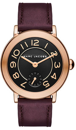 Marc Jacobs Marc Jacobs Riley Rose Goldtone Stainless Steel Leather Strap Dress Watch, CLSC36RGBURGSTRP